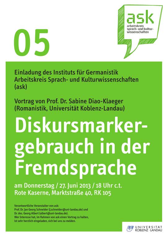Ask-Vortrag: Prof. Dr. Sabine Diao-Klaeger: Diskursmarkergebrauch in der Fremdsprache