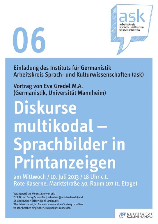 Ask-Vortrag: Eva Gredel M.A.: Diskurse multikodal – Sprachbilder in Printanzeigen