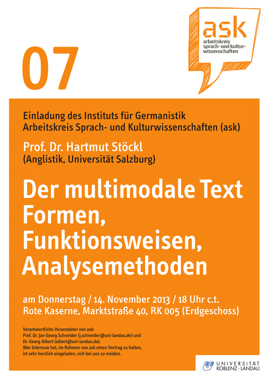 Ask-Vortrag: Prof. Dr. Hartmut Stöckl: Der multimodale Text. Formen, Funktionsweisen, Analysemethoden
