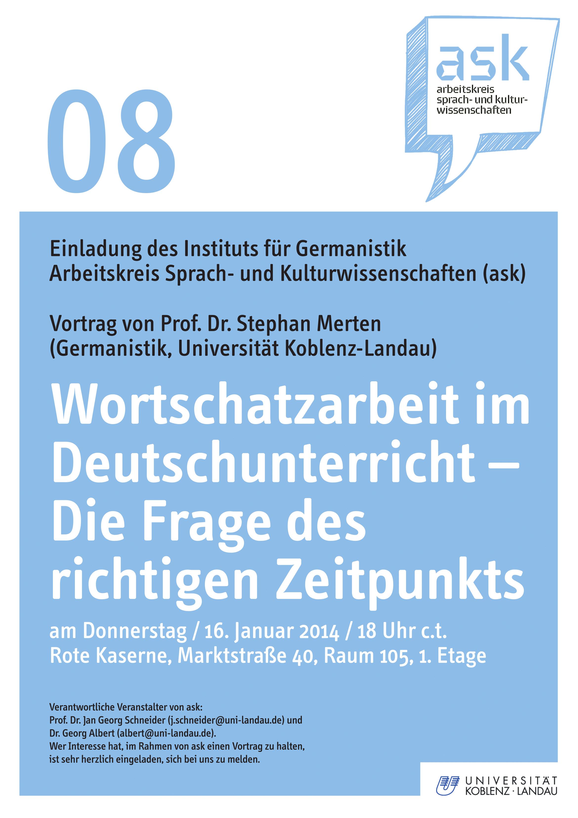 Ask-Vortrag: Prof. Dr. Stephan Merten: Wortschatzarbeit im Deutschunterricht – Die Frage des richtigen Zeitpunkts