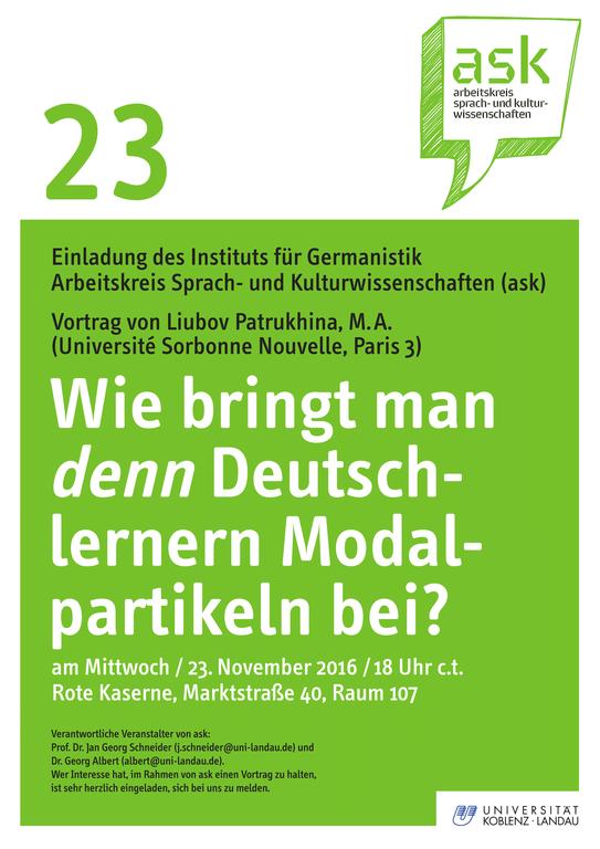 Ask-Vortrag: Liubov Patrukhina: Wie bringt man denn Deutschlernern Modalpartikeln bei?