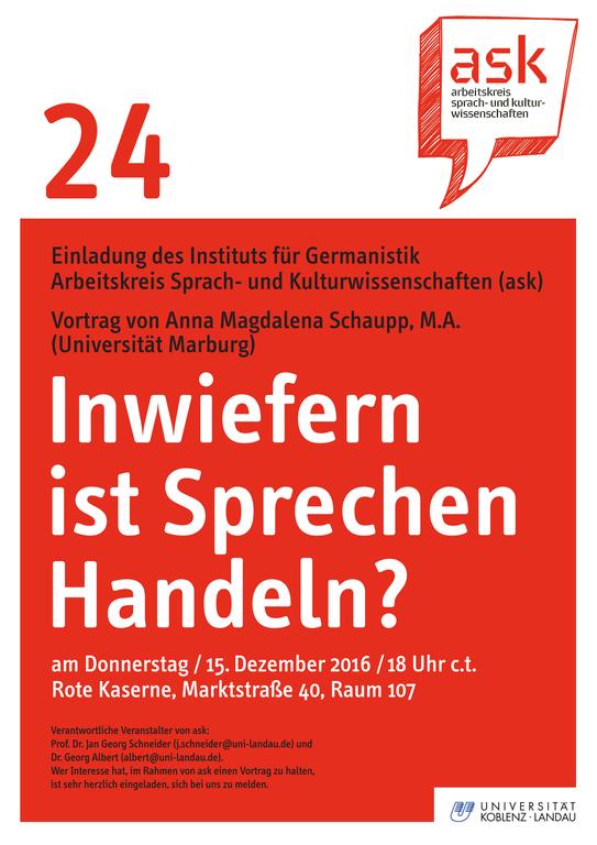 Ask-Vortrag: Anna Magdalena Schaupp, M.A.: Inwiefern ist Sprechen Handeln?