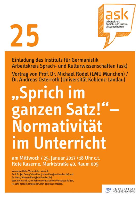 """Ask-Vortrag: Prof. Dr. Michael Rödel: """"Sprich im ganzen Satz!"""" – Normativität im Unterricht"""