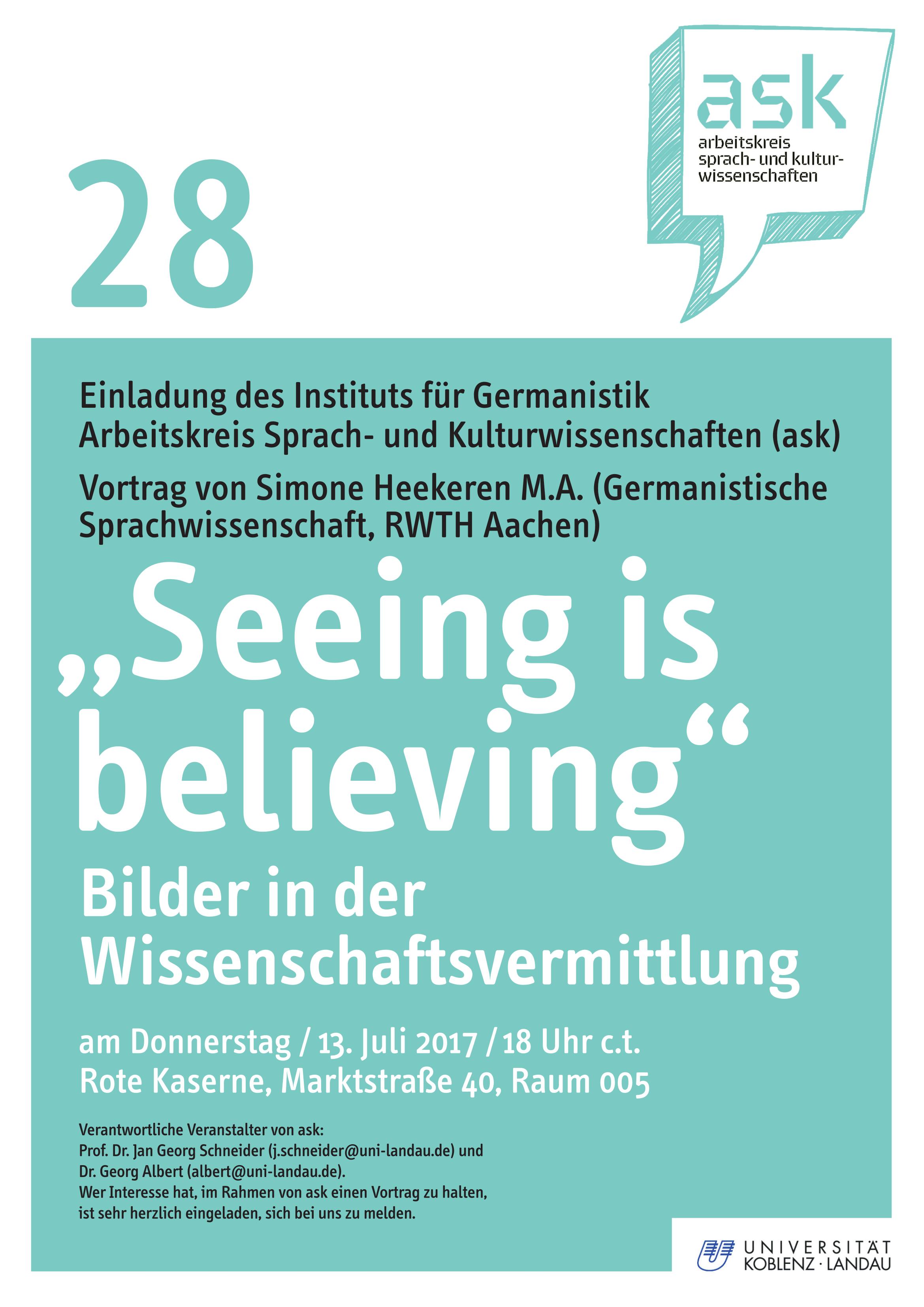 """Ask-Vortrag: Simone Heekeren M.A.: """"Seeing is believing"""". Bilder in der Wissenschaftsvermittlung"""