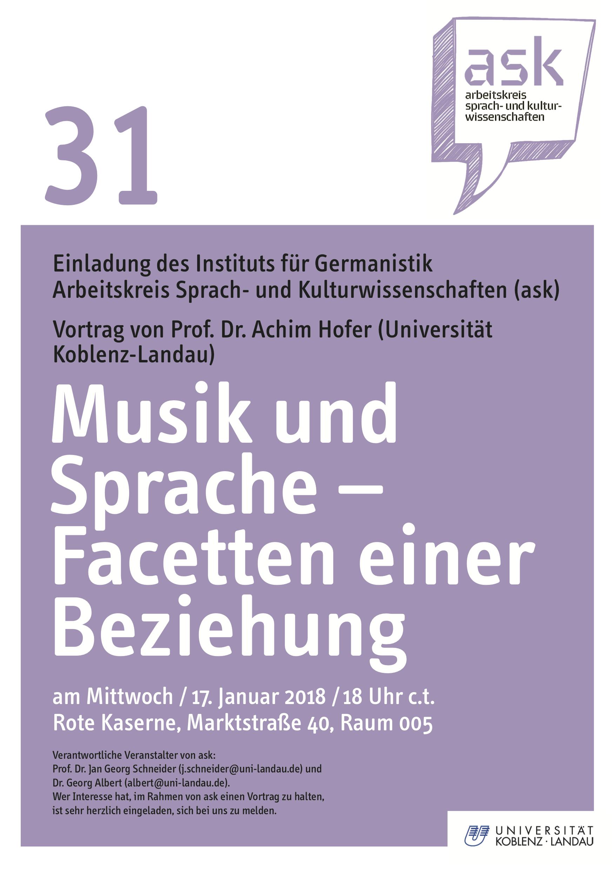 Ask-Vortrag: Prof. Dr. Achim Hofer: Musik und Sprache – Facetten einer Beziehung
