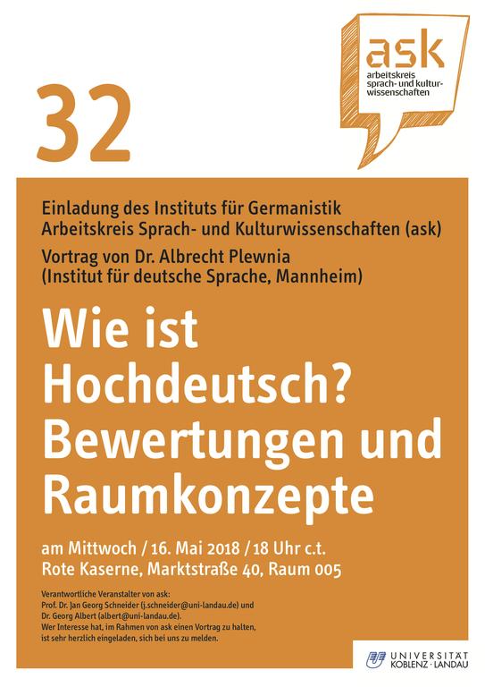 Ask-Vortrag: Dr. Albrecht Plewnia: Wie ist Hochdeutsch? Bewertungen und Raumkonzepte