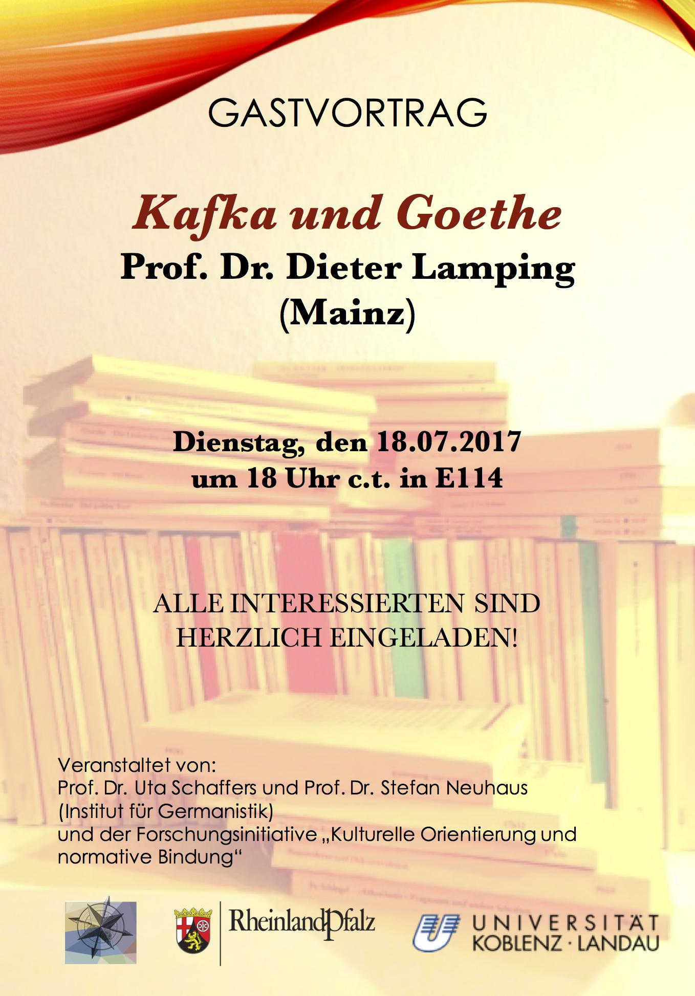 Gastvorträge Koblenz Germanistik 2 Kafka Goethe