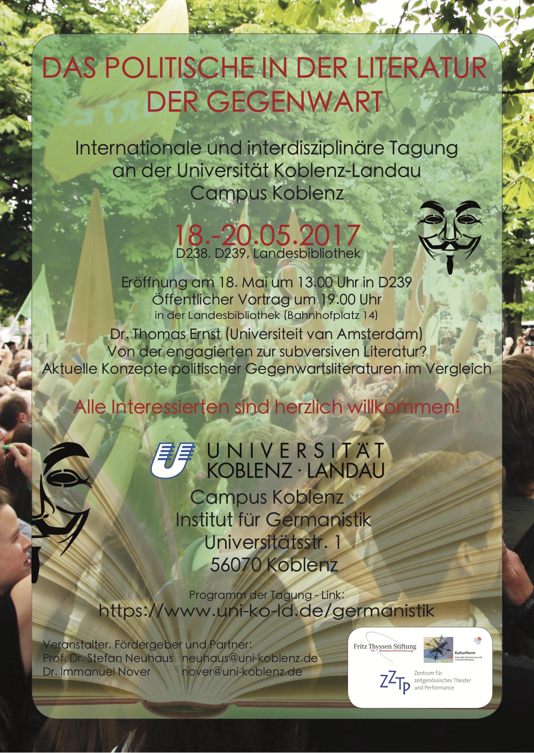 Tagung: Das Politische in der Literatur der Gegenwart