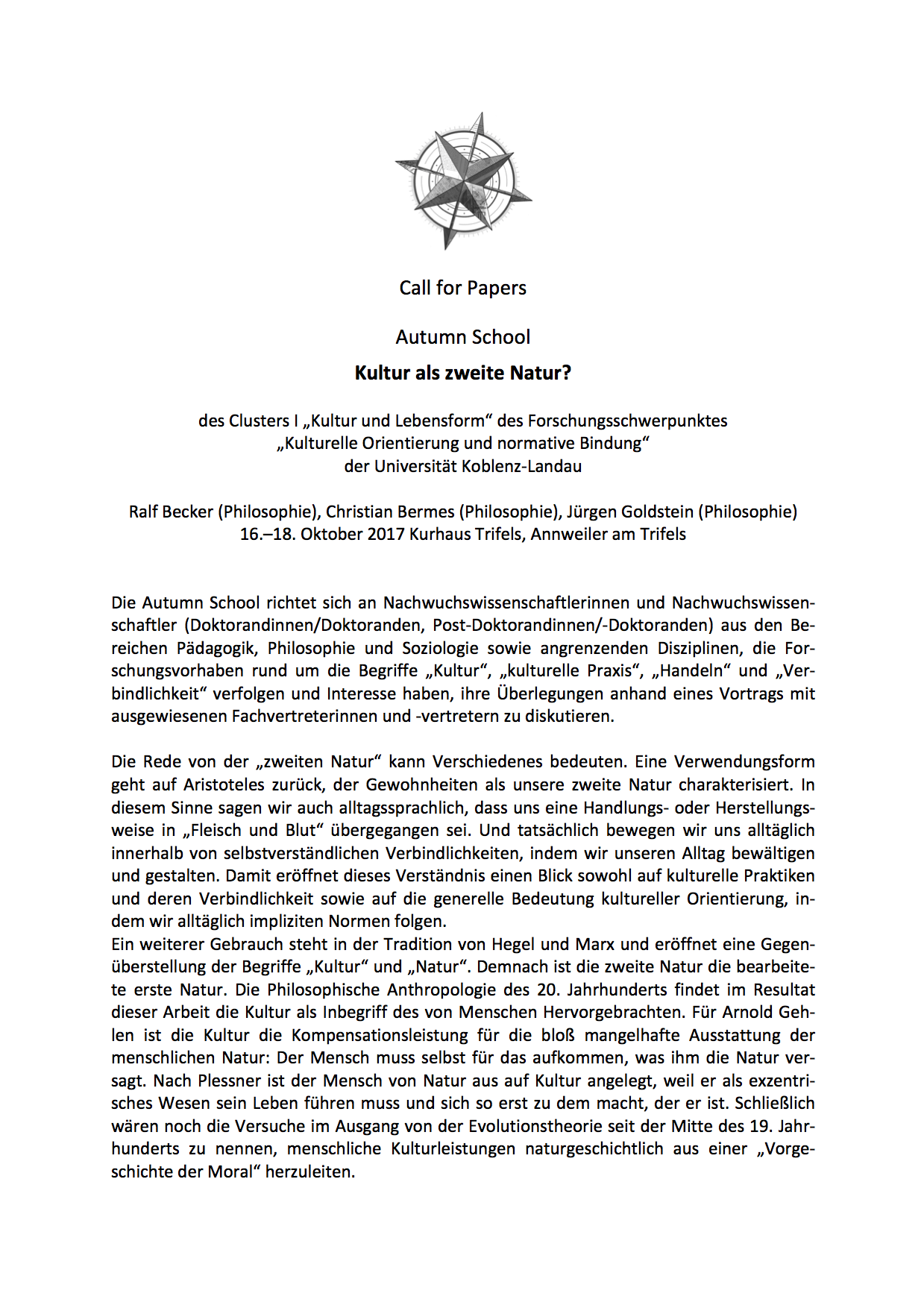 "Call for Papers: ""Kultur als zweite Natur"""