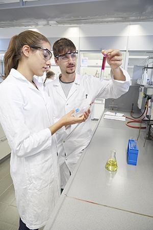 Studierende im Labor am Campus Landau