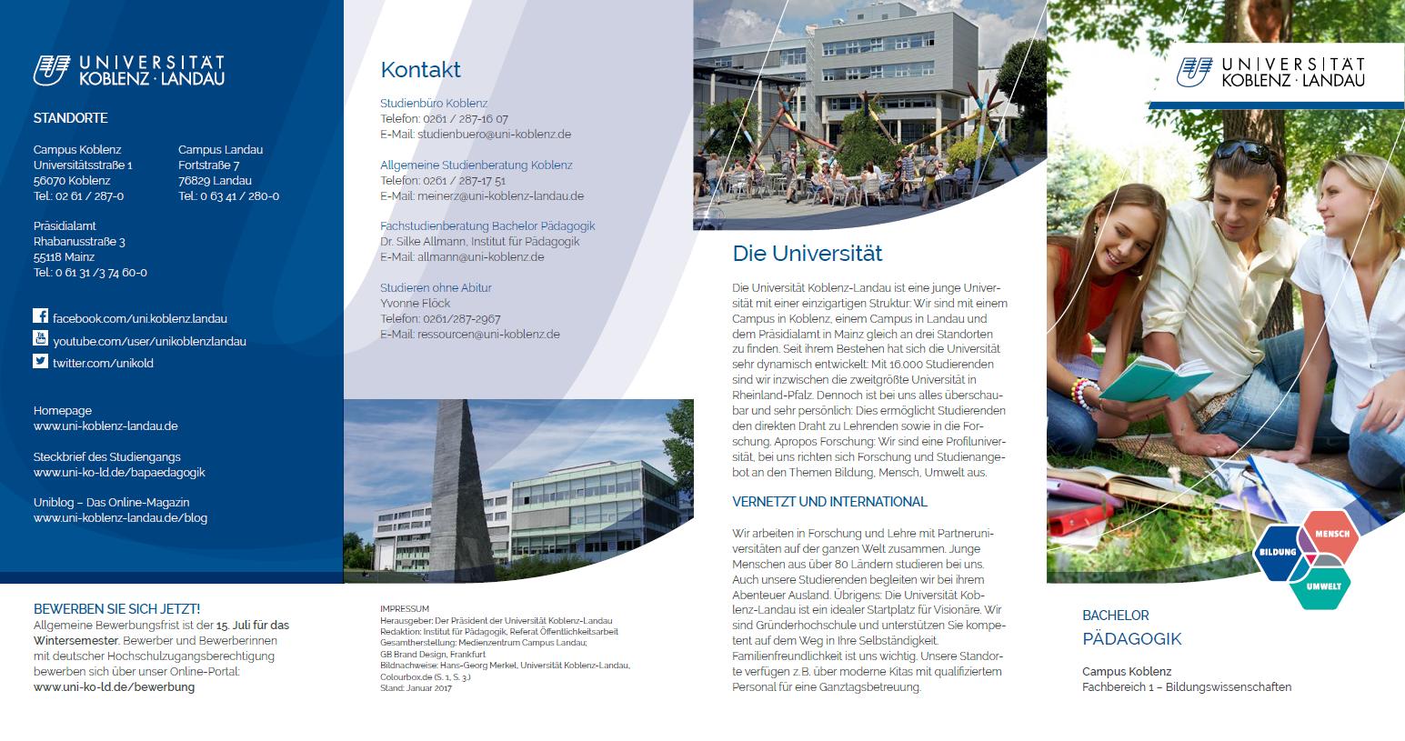 Studiengangsflyer B.A. Pädagogik