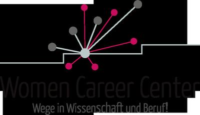 """Logo des Women Career Centers. Grafik mit der Darstellung von drei Stufen. Von der mittleren Stufe gehen graue und rosafarbene Linien aus, die an den Enden Kreise haben. Darunter der Schriftzug des Women Career Canters mit dem ergänzenden Text """"Wege in Wissenschaft und Beruf!"""""""