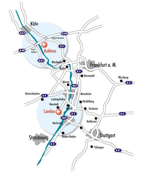 Übersichtskarte Koblenz und Landau
