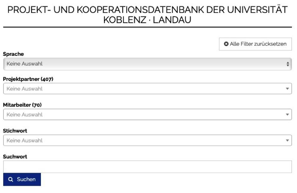 Suche nach Projekten an der Universität Koblenz · Landau