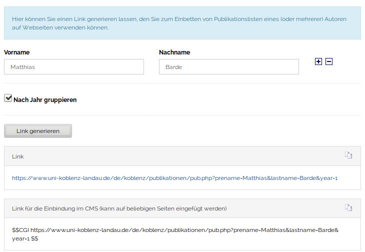 URL-Erzeugung für Links zum Einbinden im Redaktionssystem der Universität