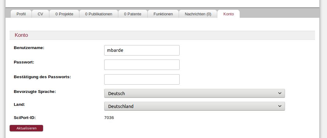 Ermitteln der SciPort-ID fü das Autoren-/Editorenprofil in der Literaturdatenbank