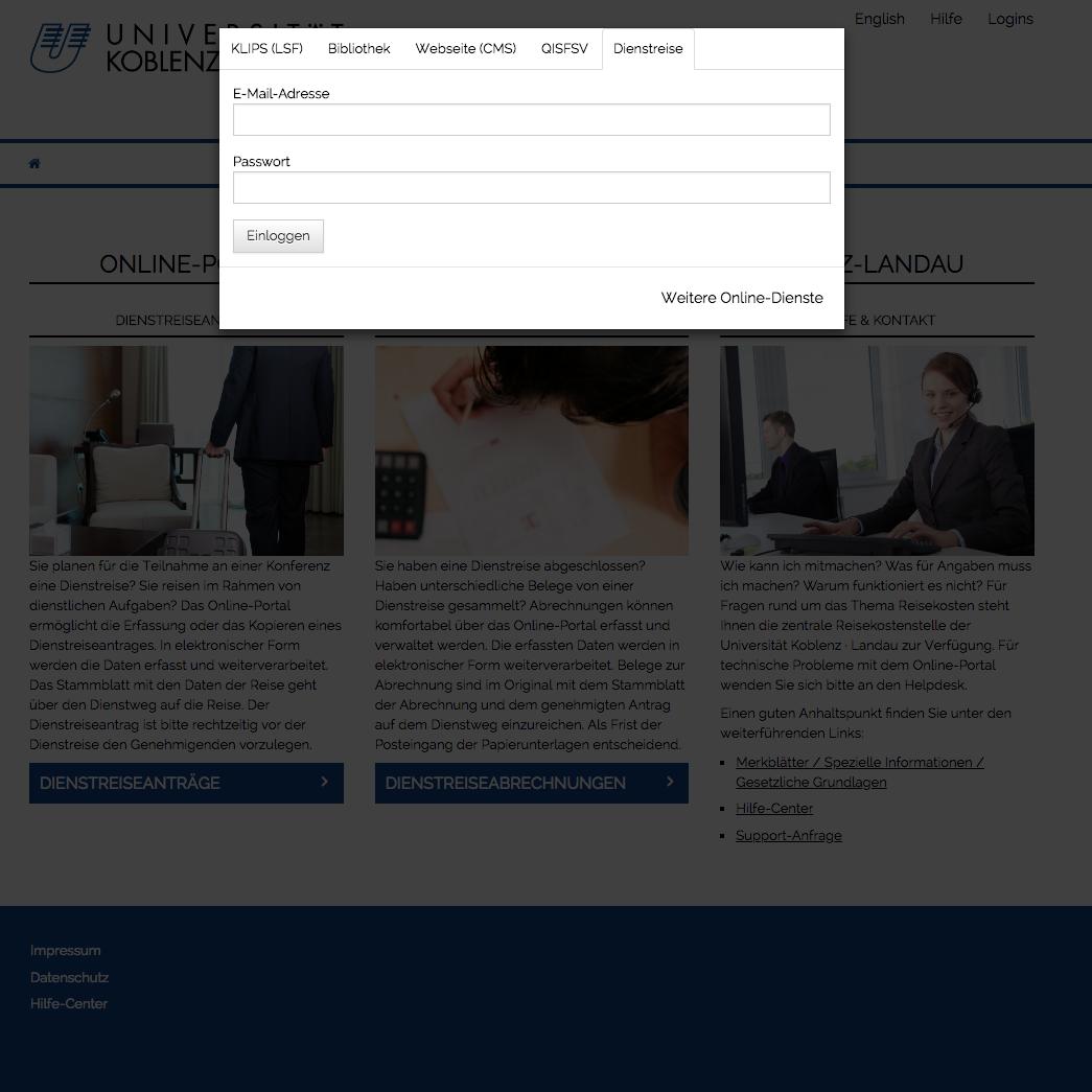 Anmeldung am Reisekostenportal der Unviersität Koblenz · Landau