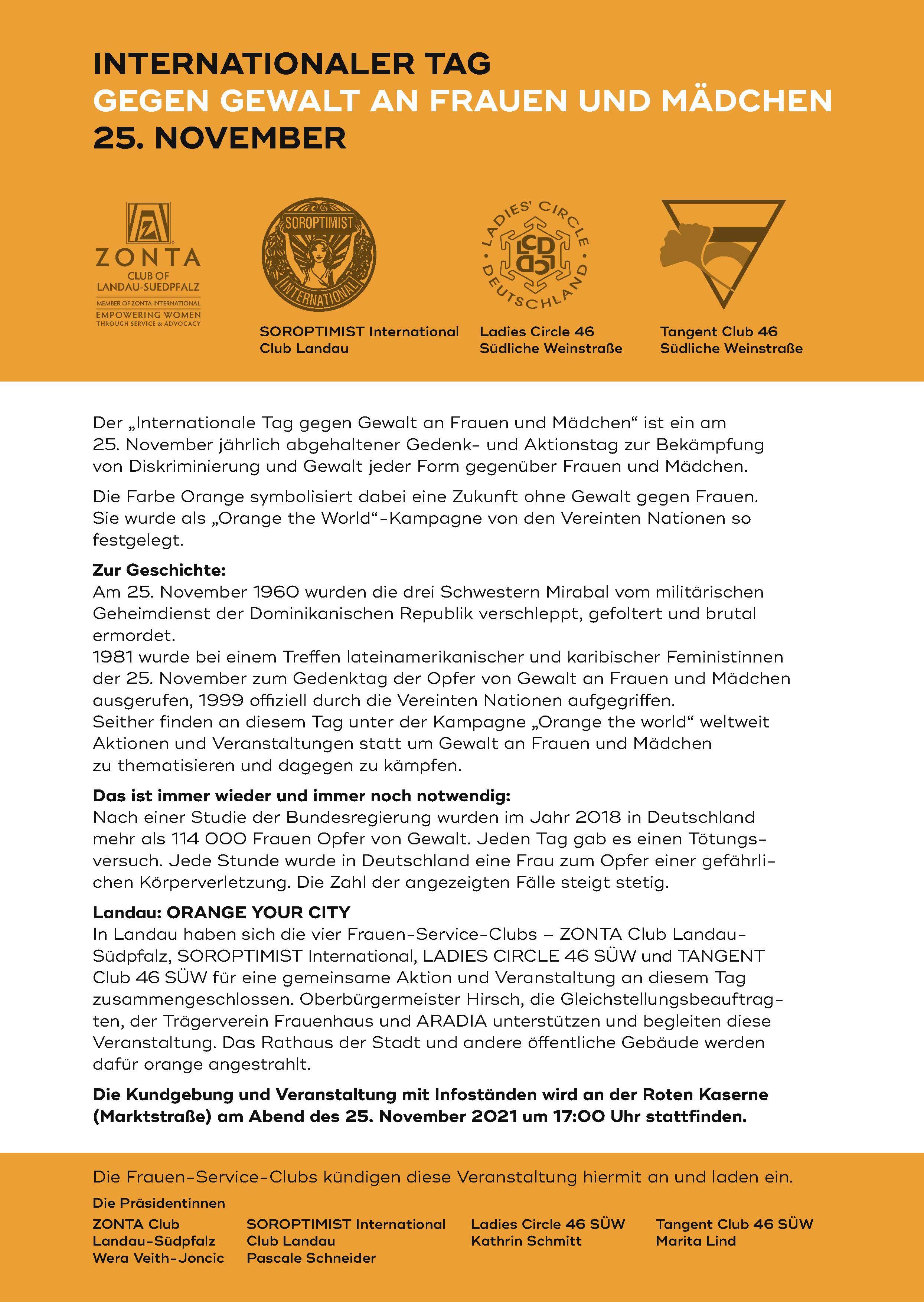 Kundgebung in Landau zum Internationalen Tag gegen Gewalt an Frauen und Mädchen 2021