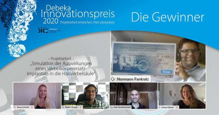 Award of the DEBEKA Innovation Prize 2020 to research internship at the VisSim group