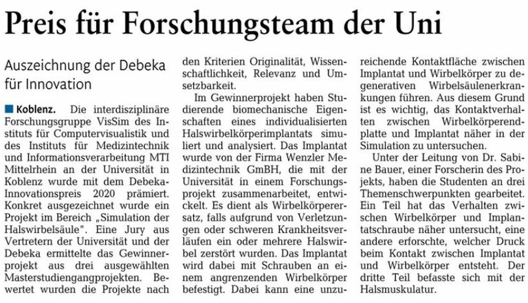 Newspaper report about our DEBEKA innovation award