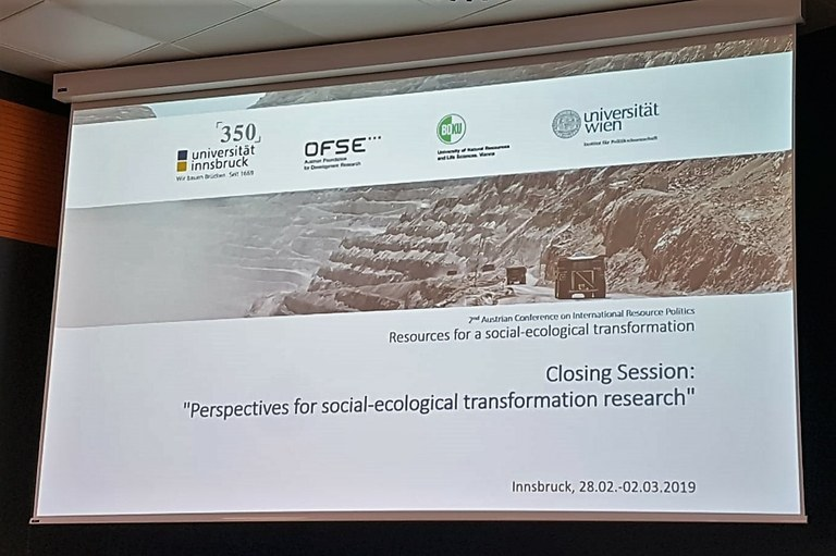 """RG Landuse Conflicts at the Conference """"Resources for a Social-ecological Transformation"""""""