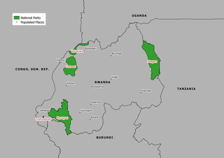 Map National Parks Rwanda